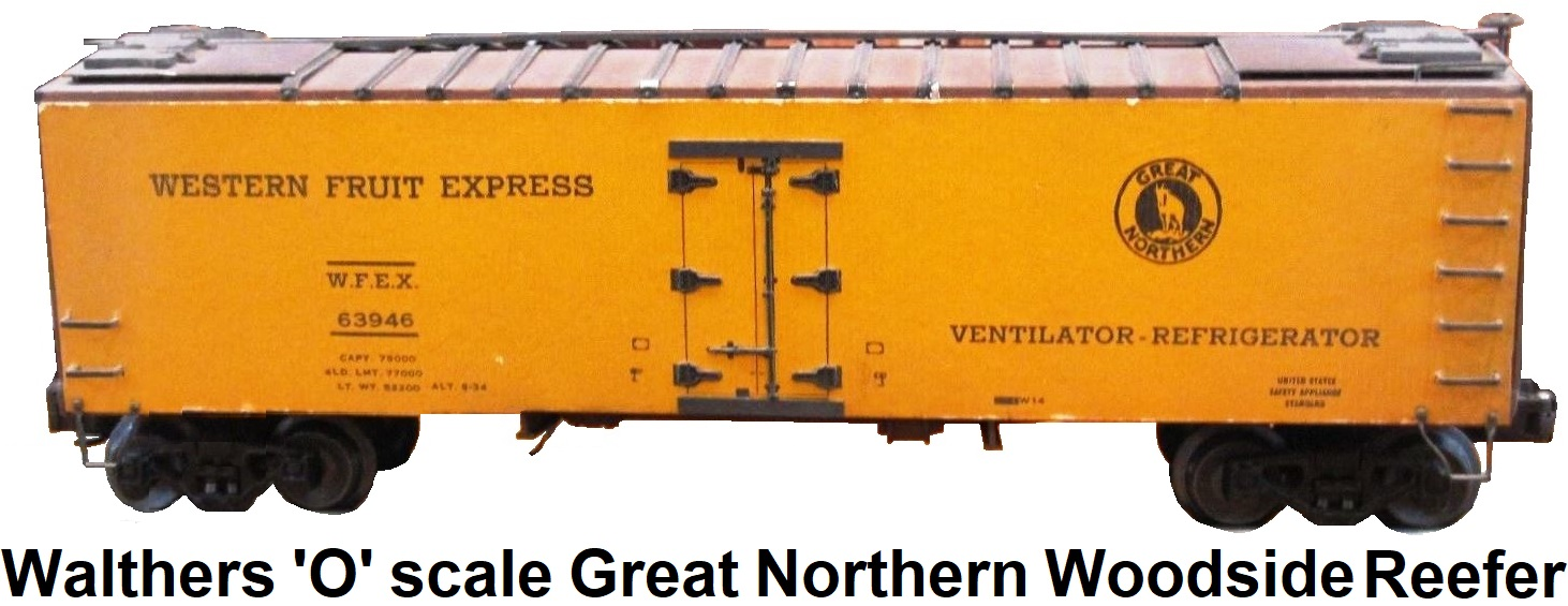 Walthers 'O' Scale Great Northern Woodsided Reefer Metal & Wood Kit-built 2-rail