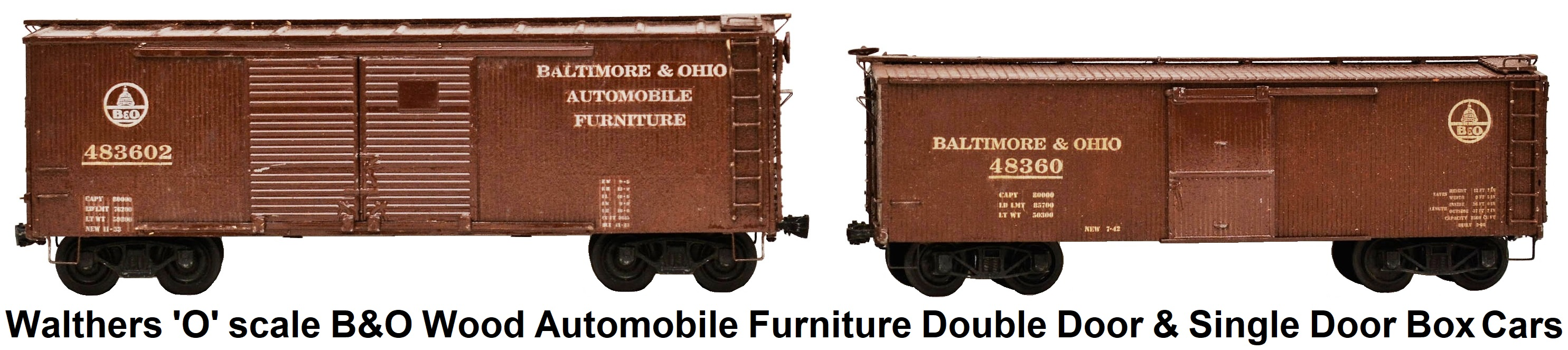 Walthers 'O' scale Kit-built B&O Automobile Furniture Double Door and Single Door Wood Box Cars