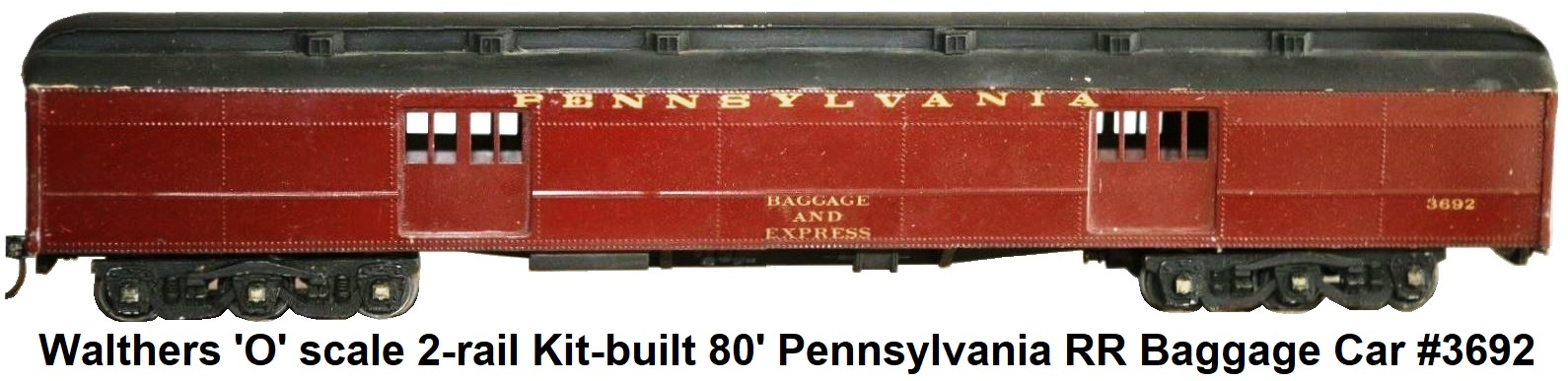 Walthers 'O' Scale 80' 2-rail Kit-built Pennsylvania RR Baggage Car