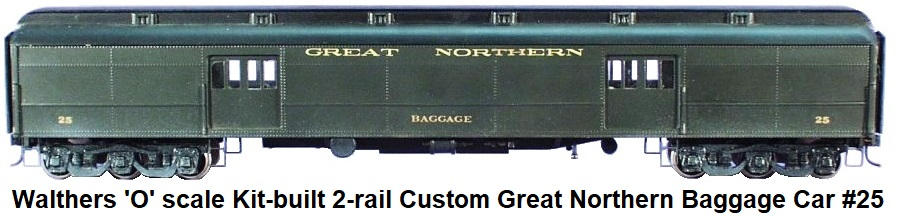 Walthers 'O' Scale 80' Kit-Built 2-rail Custom Great Northern Baggage Car #25
