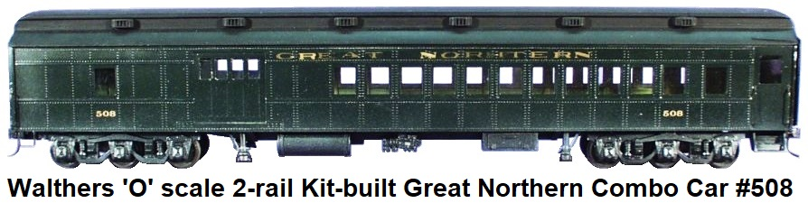 Walthers 'O' scale kit-built Custom Great Northern Combo car #508