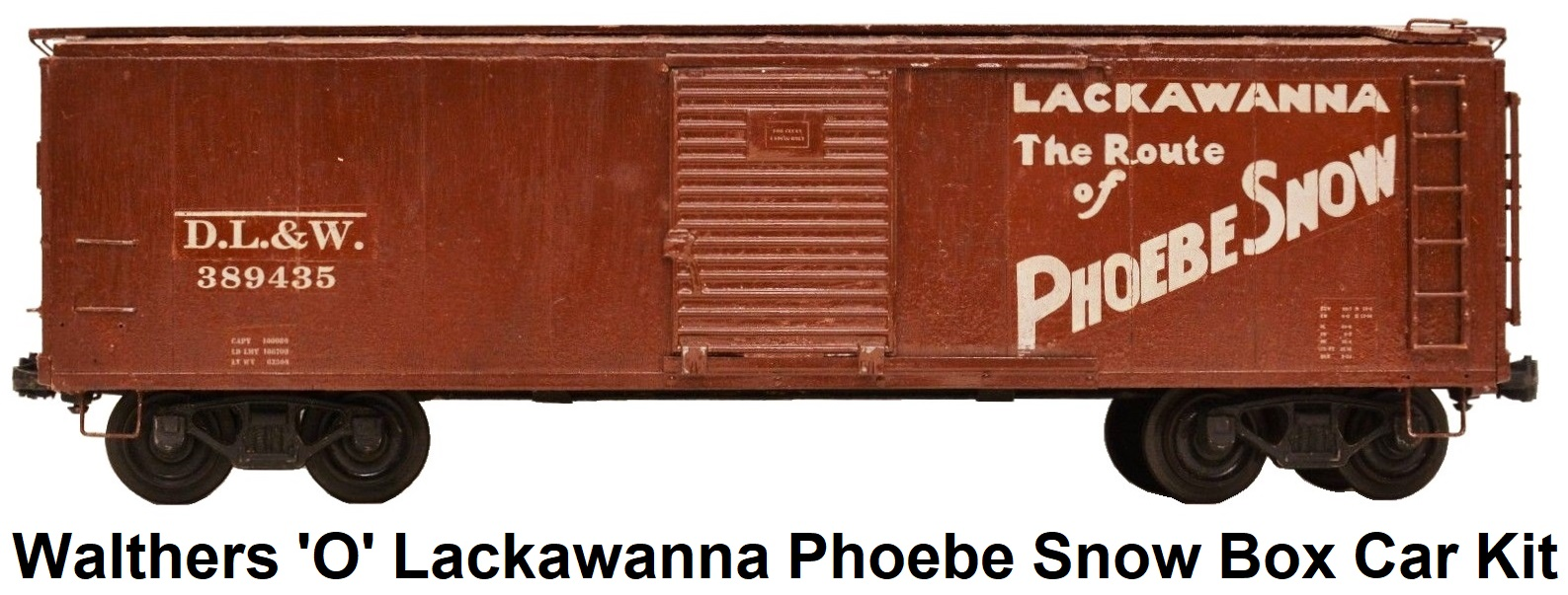 Walthers 'O' Scale Lackawanna Phoebe Snow Assembled Box Car Kit made of Wood and Metal