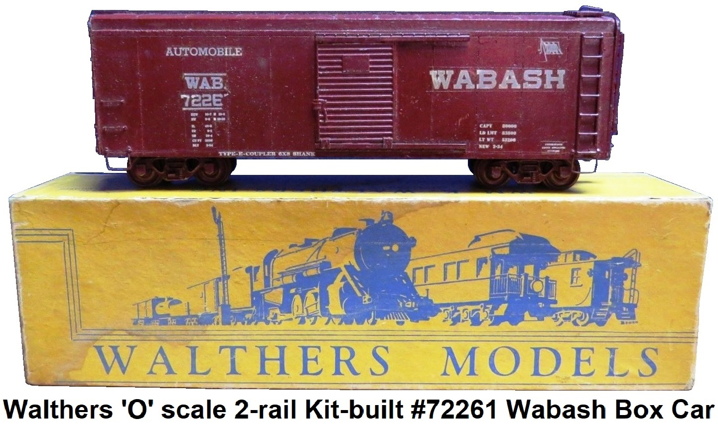 Walthers 'O' scale 2-rail Kit-built #72261 Wabash Box Car