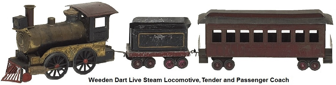 Weeden Dart live steam 0-4-0 locomotive, tender and passenger coach made 1888-1918