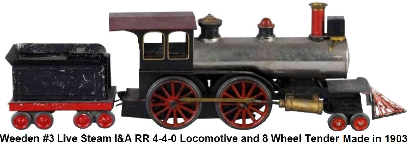 Weeden #3 Live Steam train engine and tender circa 1903 marked I&A RR