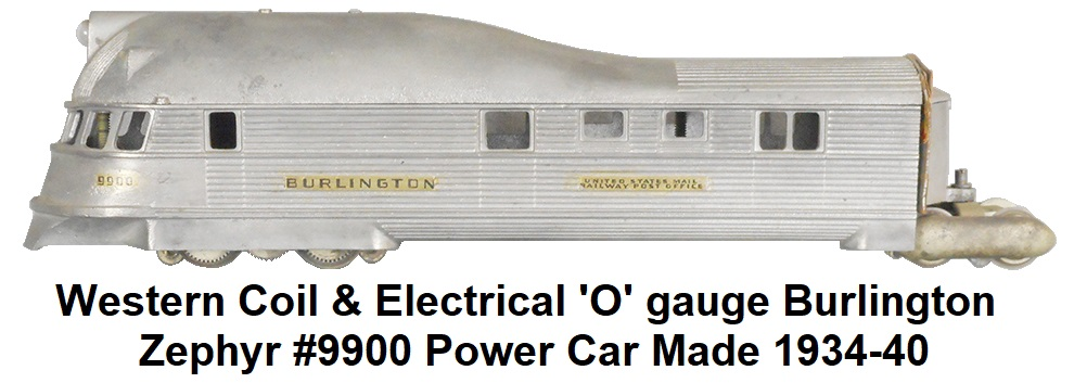 Western Coil & Electrical 'O' gauge Burlington Zephyr power car