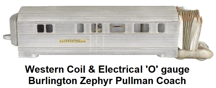 Western Coil & Electrical 'O' gauge Burlington Zephyr Pullman middle car