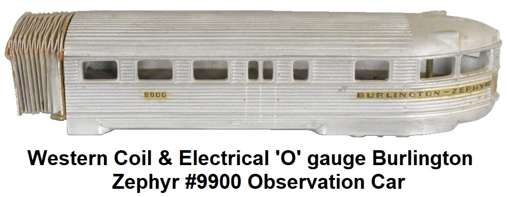 Western Coil & Electrical 'O' gauge Burlington Zephyr Observation trail car