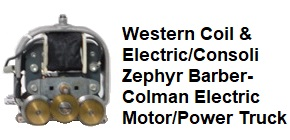 Western Coil & Electrical/Consoli Family Burlington Zephyr Barber-Colman electric motor and power truck assembly