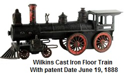 Wilkins cast iron floor train with patent date June 19, 1888 measured 14 inches long