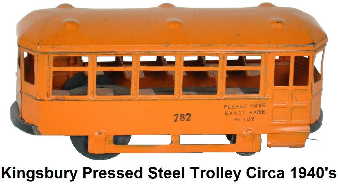 Kingsbury Trolley Circa 1940's 9 inch painted pressed steel, interior seats, functional mechanism with mechanical bell