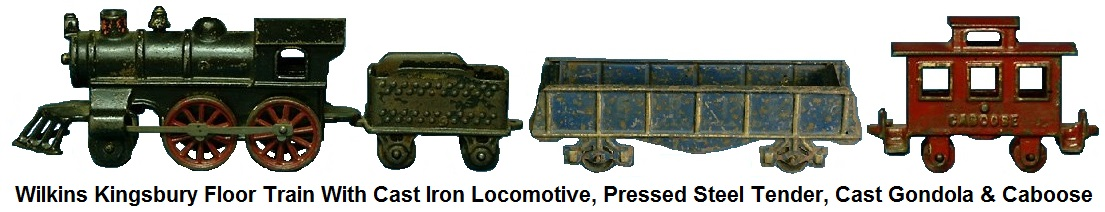 Wilkins Kingsbury Floor Train, includes cast iron locomotive, pressed steel tender, cast iron gondola and caboose