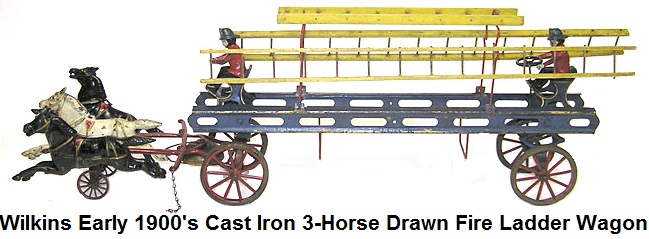 Wilkins early 1900's Cast iron Toy 3-Horse Drawn Fire Ladder Wagon