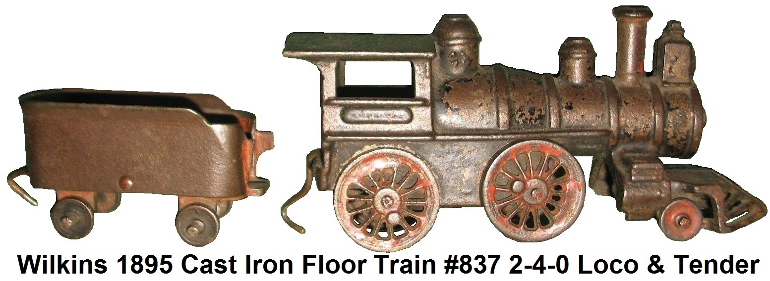 Wilkins 1895 Cast Iron Toy Floor Train #837 Locomotive and Tender