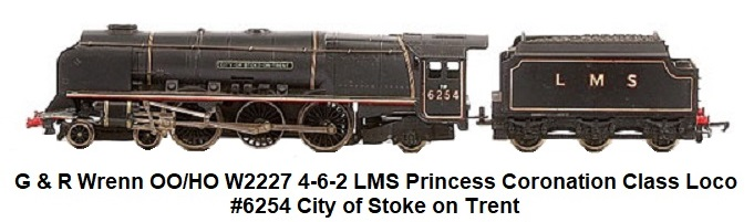 G & R Wrenn Railways OO/HO W2227 4-6-2 LMS lined black Princess Coronation Class Loco #6254 City of Stoke on Trent