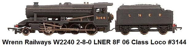 G & R Wrenn Railways OO/HO gauge W2240 2-8-0 LNER 8F 06 Class Loco #3144