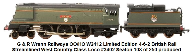 G & R Wrenn Railways OO/HO gauge W2412 Limited Edition 4-6-2 BR green Streamlined West Country Class Loco #3402 Seaton number 108 of 250 produced