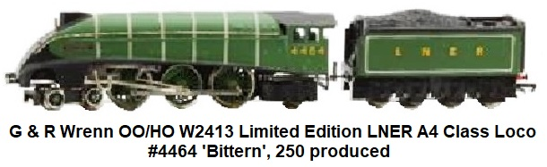 G & R Wrenn Railways OO/HO gauge W2413 Limited Edition LNER A4 Class Locomotive and Tender 'Bittern', in green, #4464, no. 21 of 250 produced