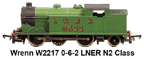 G & R Wrenn Railways OO/HO gauge W2217 0-6-2 LNER apple green N2 Class Loco #9522