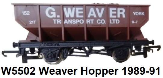 G & R Wrenn Railways OO/HO gauge W5502 G. Weaver Transport Limited Edition Hopper Wagon made 1989-91