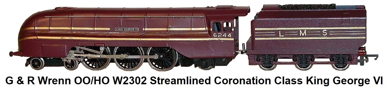 G & R Wrenn Railways OO/HO gauge W2302 Streamlined Coronation Class King George VI 4-6-2 Pacific Loco in LMS maroon livery