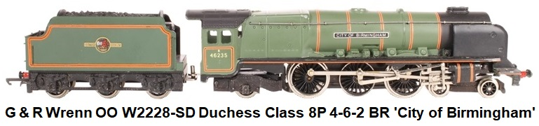 G & R Wrenn Railways OO/HO gauge W2228-SD Duchess Class 8P 4-6-2 #46235 'City of Birmingham' in BR Green