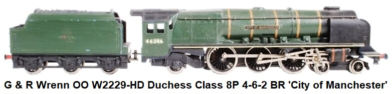 G & R Wrenn Railways OO/HO gauge W2229-HD Duchess Class 8P 4-6-2 #46246 'City of Manchester' in BR Green