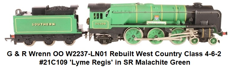 G & R Wrenn OO/HO W2237-LN01 Rebuilt West Country Class 4-6-2 #21C109 'Lyme Regis' in SR Malachite Green