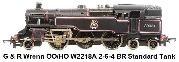 G & R Wrenn Railways OO/HO gauge W2218A 2-6-4 BR lined black early crest livery Standard Tank Locomotive #80064l