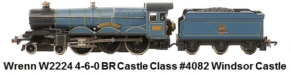 G & R Wrenn Railways OO/HO gauge W2224 4-6-0 BR blue Castle Class Loco #4082 Windsor Castle